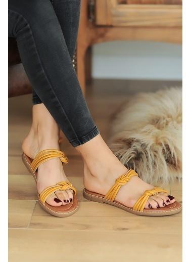 Pembe Potin A2074-20 Kadın sandalet Hardal